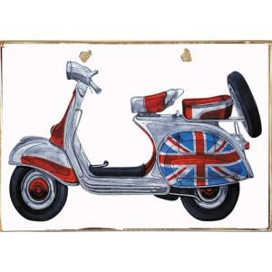 Ρετρό Πίνακας Χειροποίητος UK Vespa 30 x 20 cm