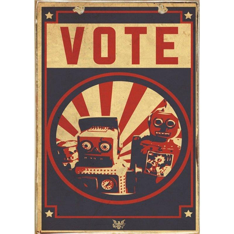 Ρετρό Πίνακας Χειροποίητος Vote 20 x 30 cm