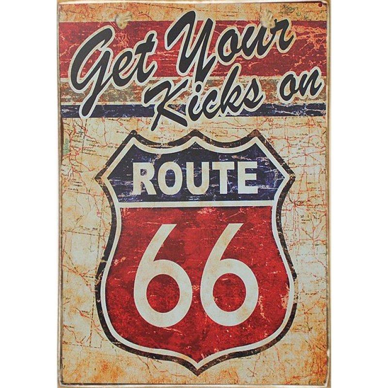 Route 66 Ξύλινος Vintage Πίνακας 20 x 30 cm