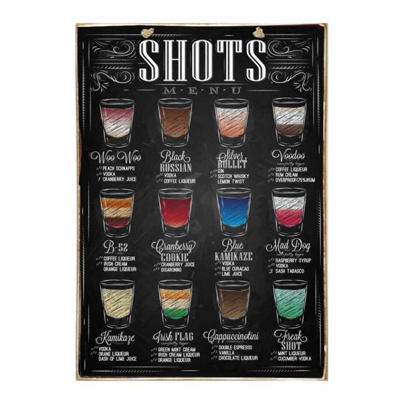 Shots - Ξύλινος Πίνακας Μαύροπίνακας 20 x 30 cm