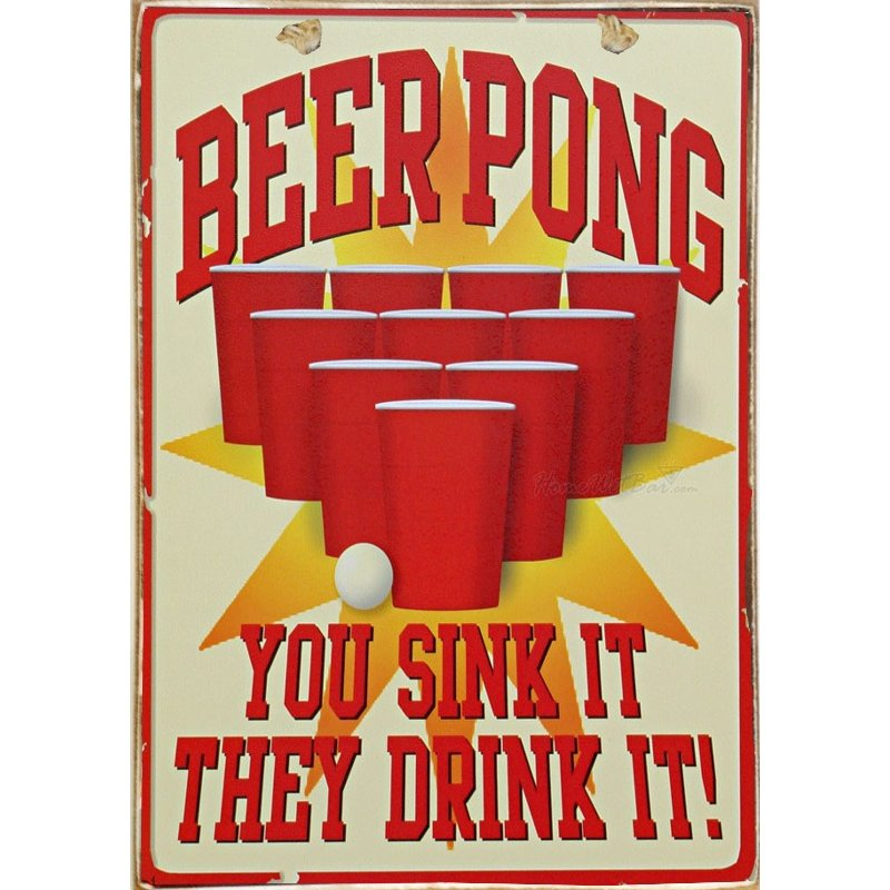 Sign Πίνακας Χειροποίητος  Beer Pong 21cm X 30cm