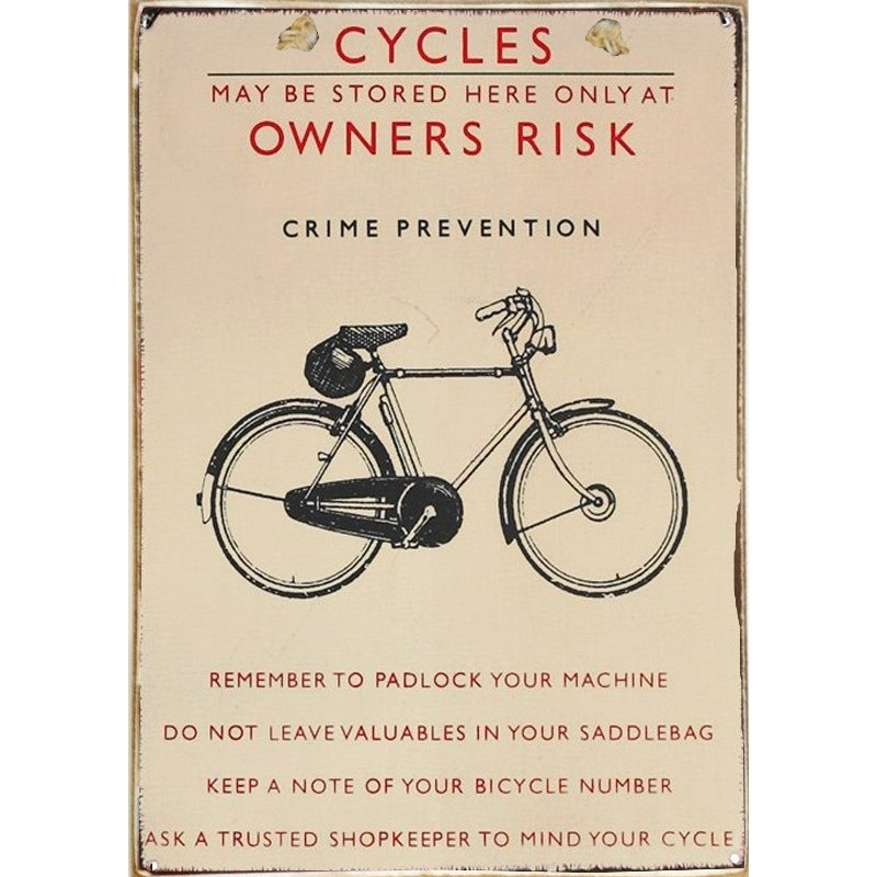 Sign Πίνακας Χειροποίητος Bike Rules  21cm X 30cm