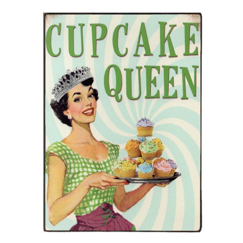 Sign Πίνακας Χειροποίητος Cupcake Queen  21cm X 30cm