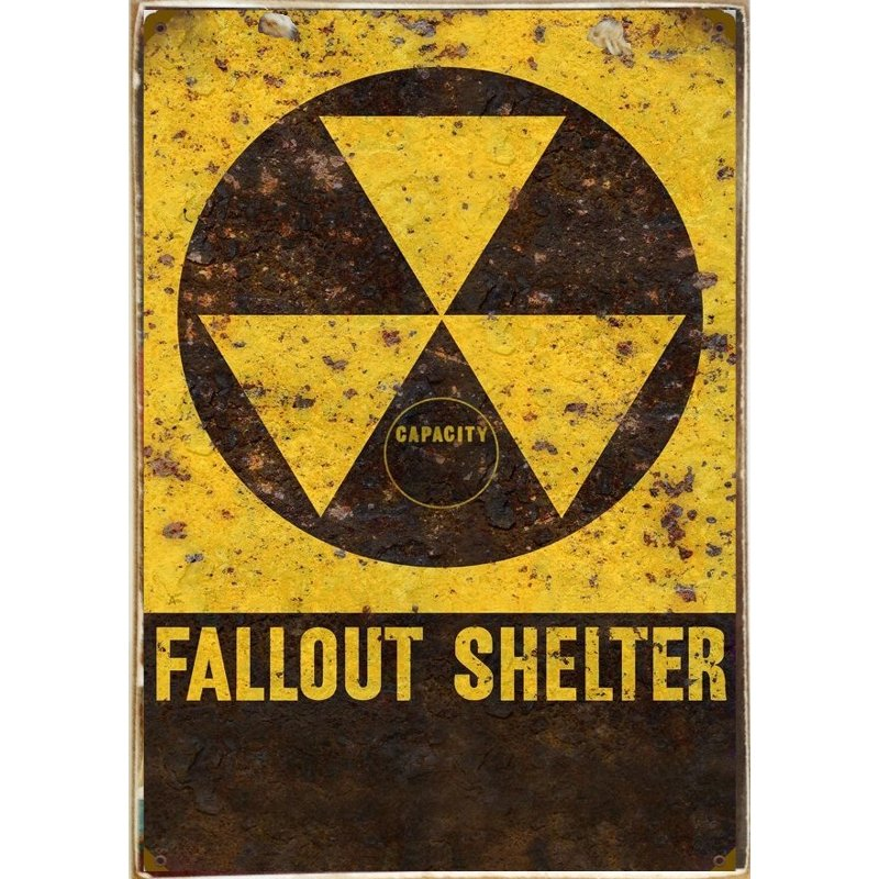 Sign Πίνακας Χειροποίητος  Fallout Shelter 21cm X 30cm