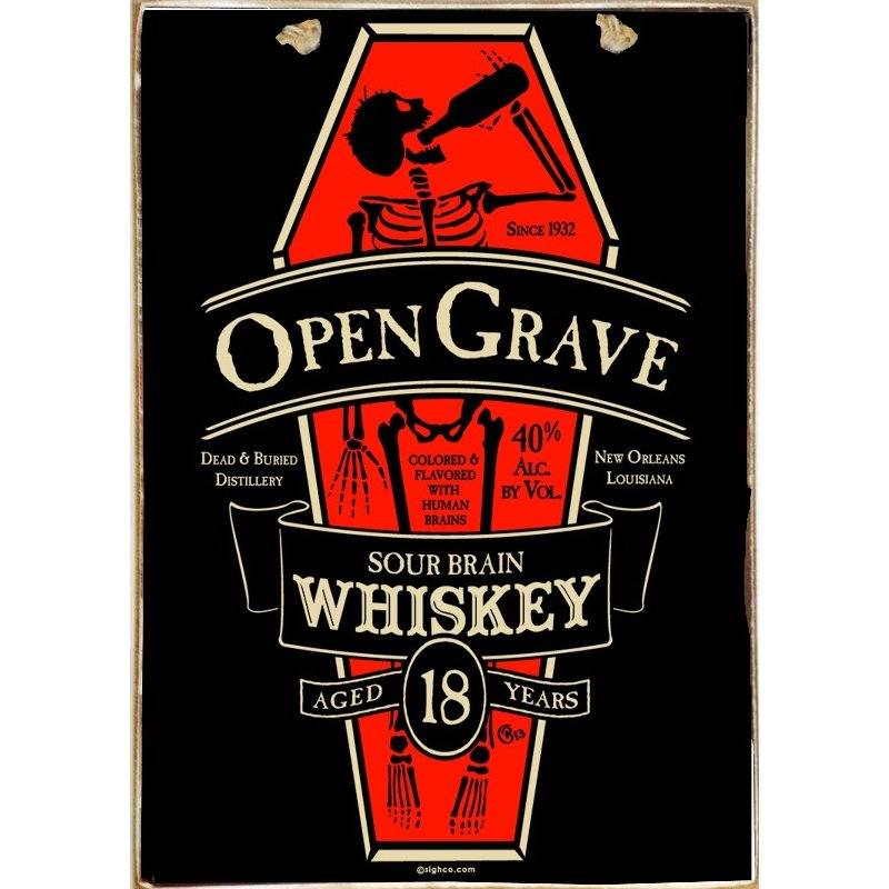 Sign Πίνακας Χειροποίητος  Open Grave διαφήμιση  21cm X 30cm