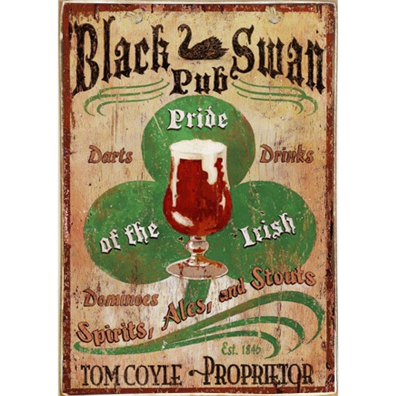 Sign Πίνακας Χειροποίητος  Vintage Πινακιδα Pub 21cm X 30cm