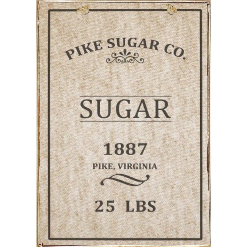 Sign Πίνακας Χειροποίητος Vintage συσκευασια ζαχαρης 21cm X 30cm