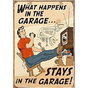 Sign Πίνακας Χειροποίητος What Happens in the Garage..    21cm X 30cm