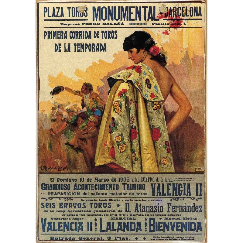 Spanish Bull -Ξύλινος  Πίνακας Χειροποίητος 20 x 30 cm