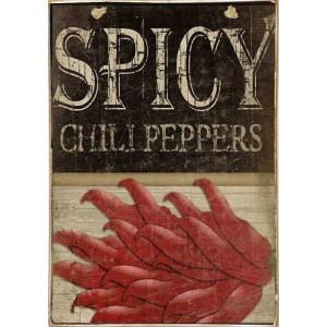 Spicy Peppers -Ξύλινος  Πίνακας Χειροποίητος 20 x 30 cm