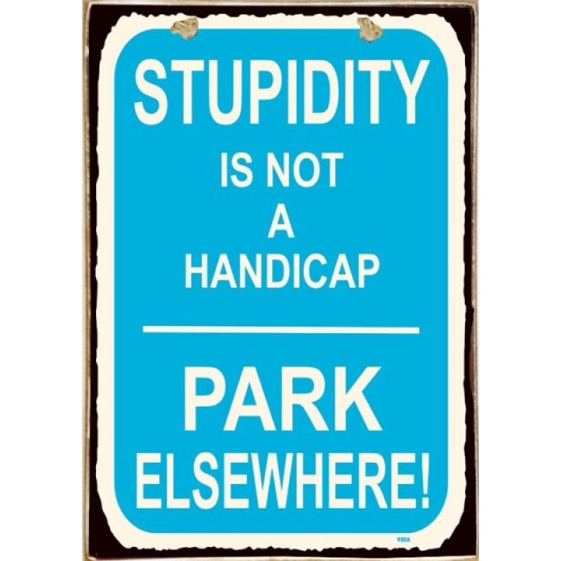 Stupidity Ξύλινος Vintage Πίνακας 20 x 30 cm