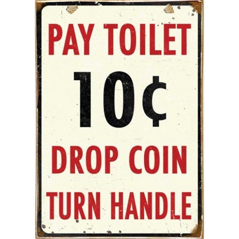 Toilet -Ξύλινος  Πίνακας Χειροποίητος 20 x 30 cm