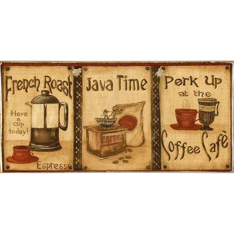Triple Coffee -Ξύλινος  Πίνακας Χειροποίητος