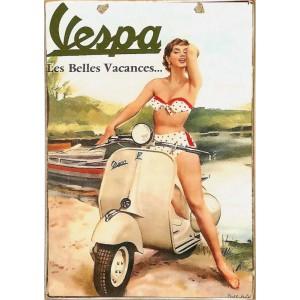 Vespa Holiday -Ξύλινος  Πίνακας Χειροποίητος 20 x 30 cm