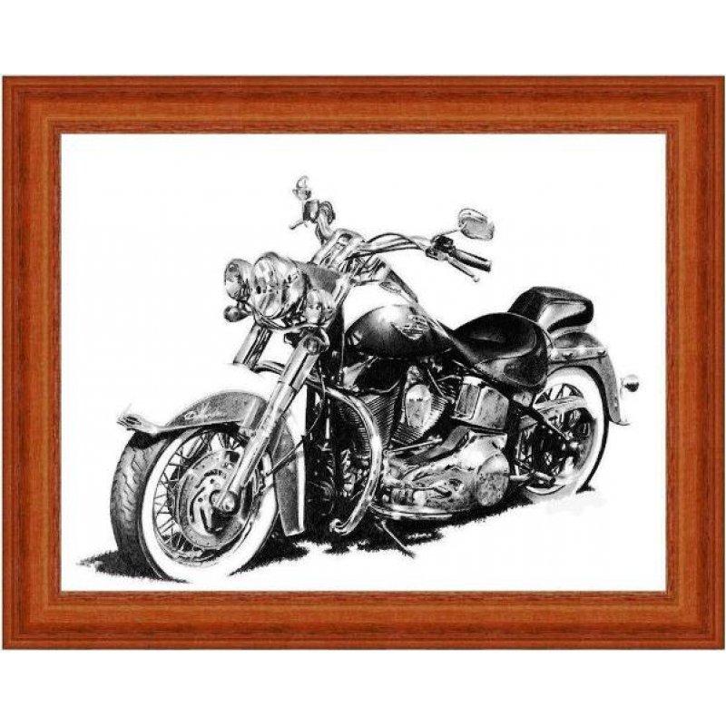 Vintage ασπρόμαυρος πίνακας xειροποίητος με ρετρό μοτοσυκλέτα
