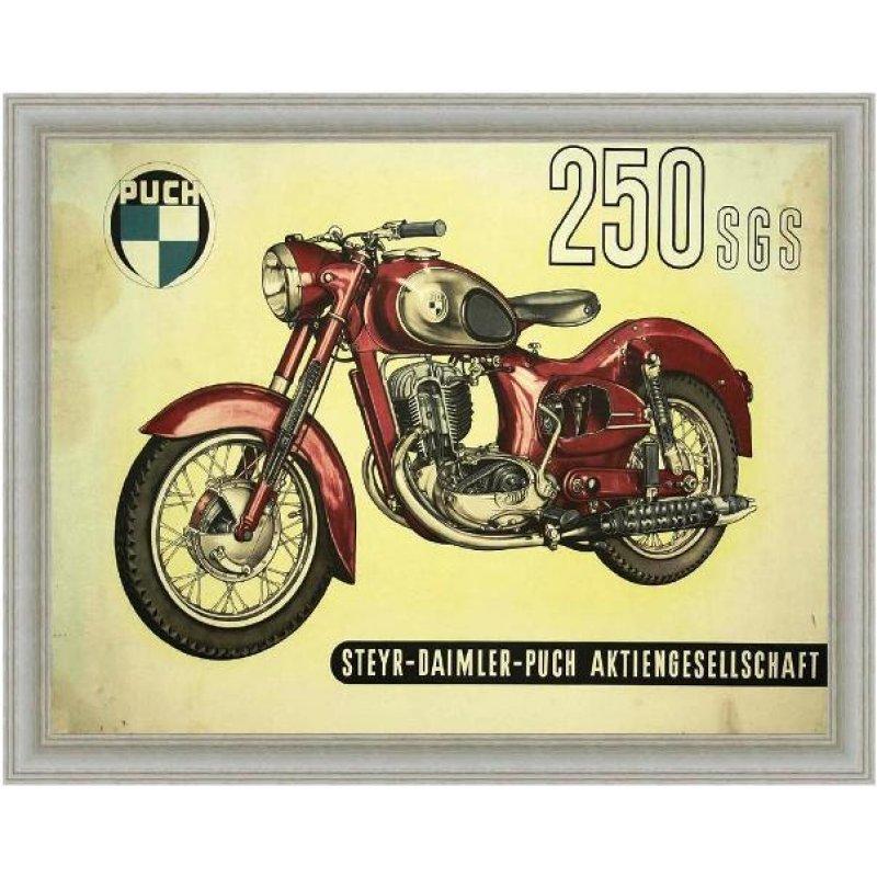 Vintage έγχρωμος πίνακας xειροποίητος με ρετρό μοτοσυκλέτα