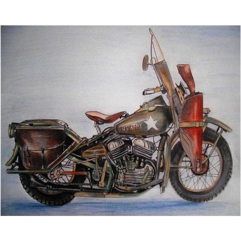 Vintage έγχρωμος πίνακας xειροποίητος με ρετρό μοτοσυκλέτα προφίλ