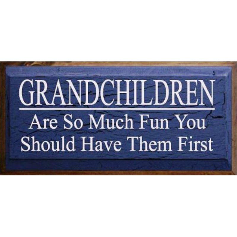Vintage ξύλινος χειροποίητος πίνακας 'Grandchildren are so much fun you should have them first'