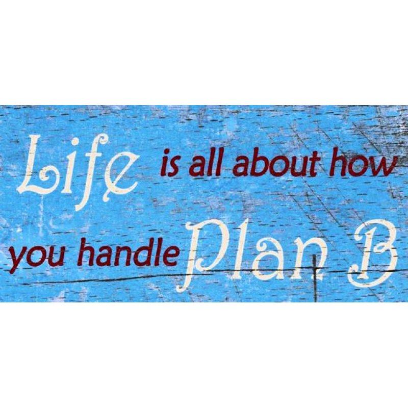 Vintage ξύλινος χειροποίητος πίνακας 'Life is all about how you handle plan B'