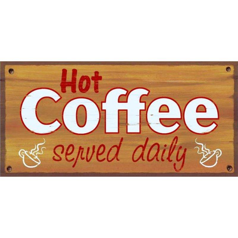 Vintage ξύλινος χειροποίητος πίνακας -Φρέσκος καφές καθημερινά