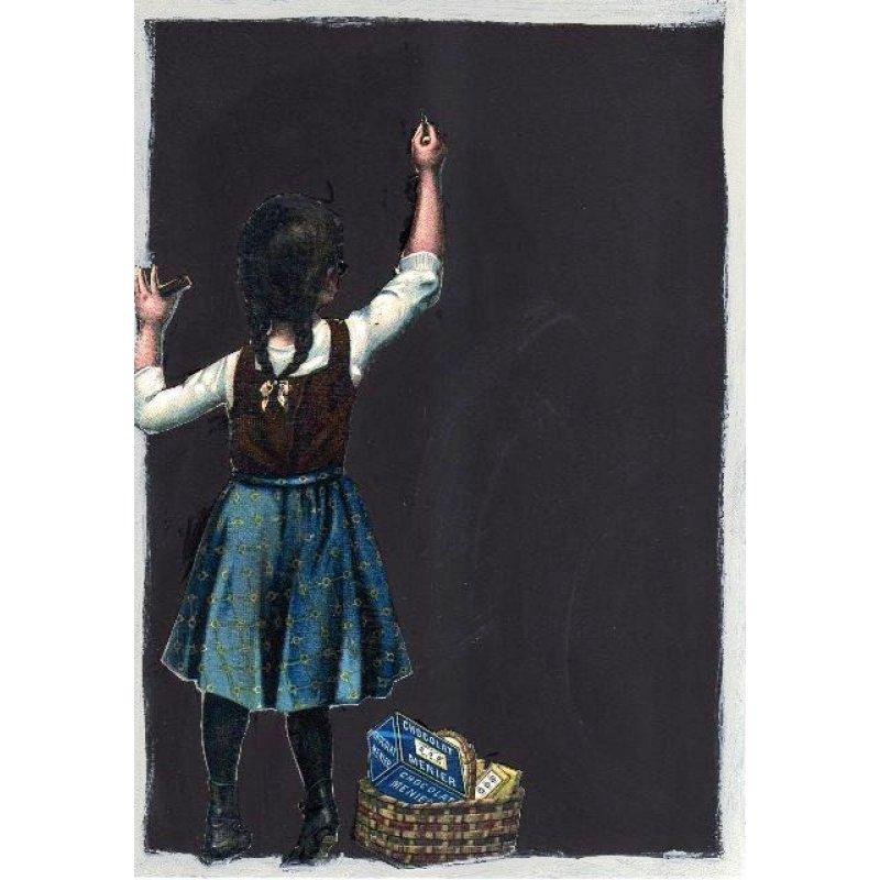 Vintage μάθημα - Χειροποίητος Μαυροπίνακας 20X30 εκατοστά