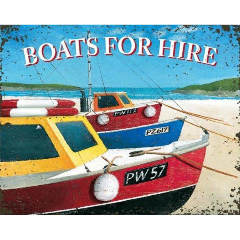 Vintage Πίνακας Χειροποίητος 'Boats for hire'