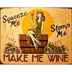 Vintage πίνακας xειροποίητος 'Make me wine'