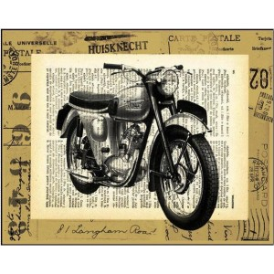 Vintage πίνακας xειροποίητος με αντίκα μηχανή πάνω σε φόντο εφημερίδας