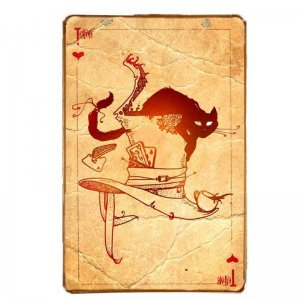 Vintage πίνακας χειροποίητος Tea time play card 20x30 εκ