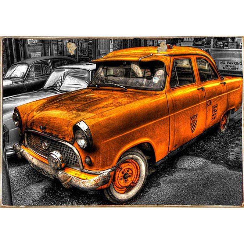 Vintage Taxi -Ξύλινος  Πίνακας Χειροποίητος 20 x 30 cm
