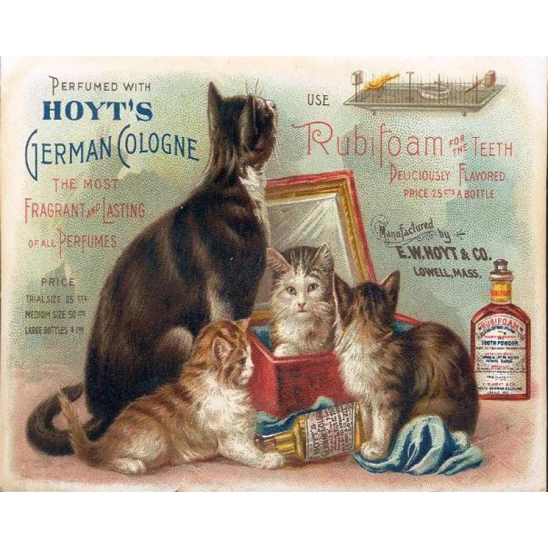 Vintage χειροποίητος πίνακας με ρετρό διαφήμιση με γατάκια