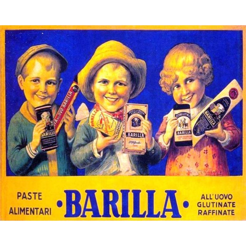 Vintage χειροποίητος πίνακας με ρετρό διαφήμιση ζυμαρικών