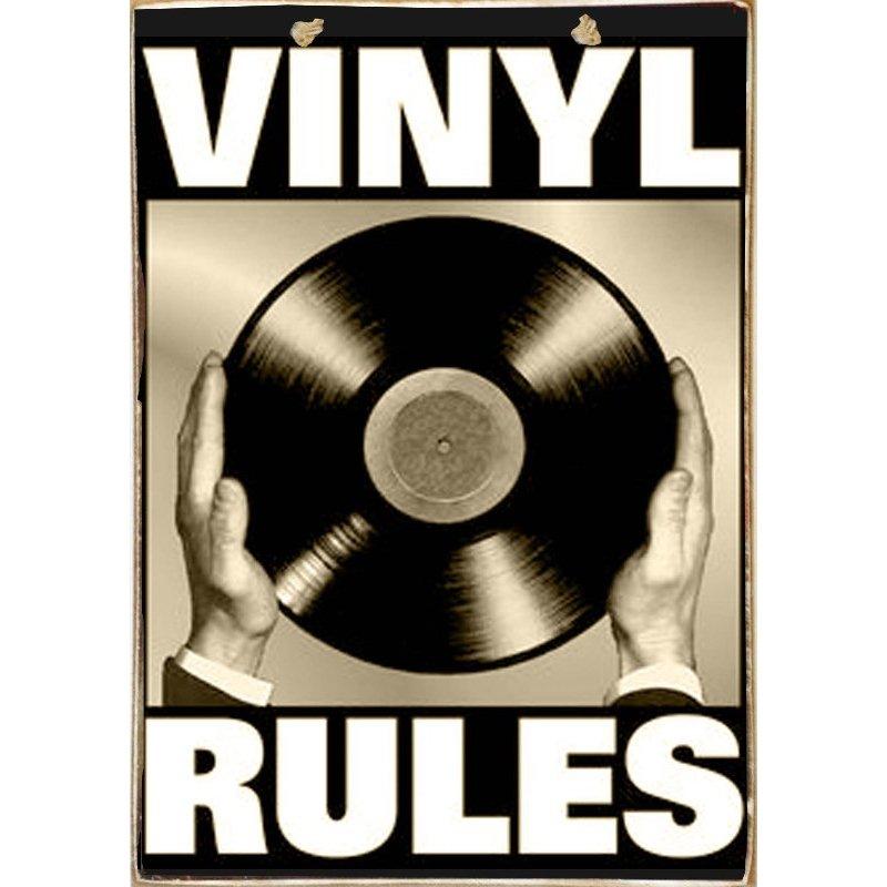 Vinyl Rules -Ξύλινος  Πίνακας Χειροποίητος 20 x 30 cm