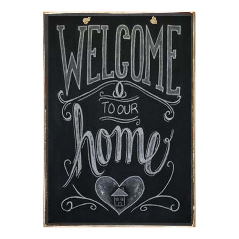 Welcome Home - Ξύλινος Πίνακας Μαύροπίνακας 20 x 30 cm