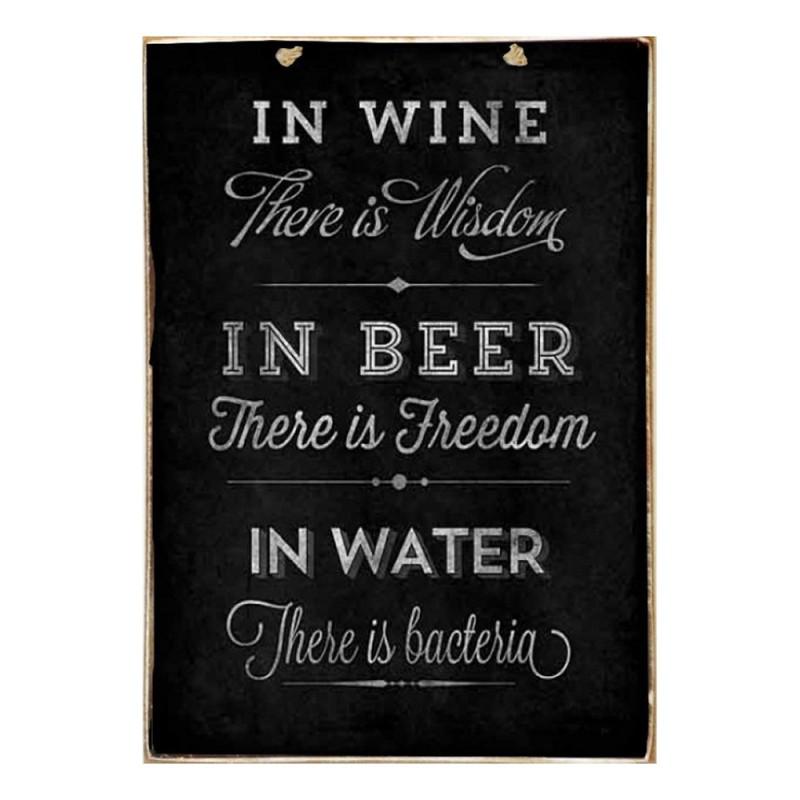 Wine Beer Water - Ξύλινο Πινακάκι Μαυροπίνακας 20 x 30 cm