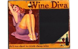 Wine Dive - Ρετρό Χειροποίητος Μαυροπίνακας 20X30 εκατοστά