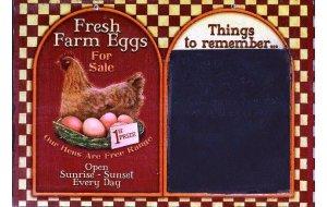 Χειροποίητος Μαυροπίνακας '' Φρέσκα αυγά '' 20X30 εκατ&omicron