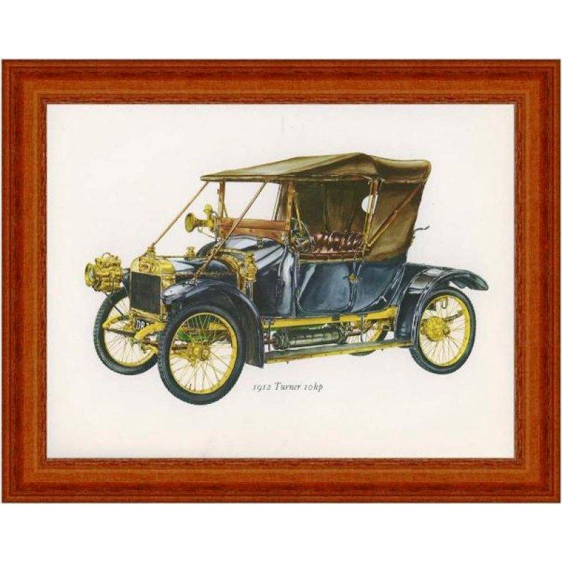 Χειροποίητος πίνακας με έγχρωμη vintage απεικόνιση αυτοκινήτου αντίκας