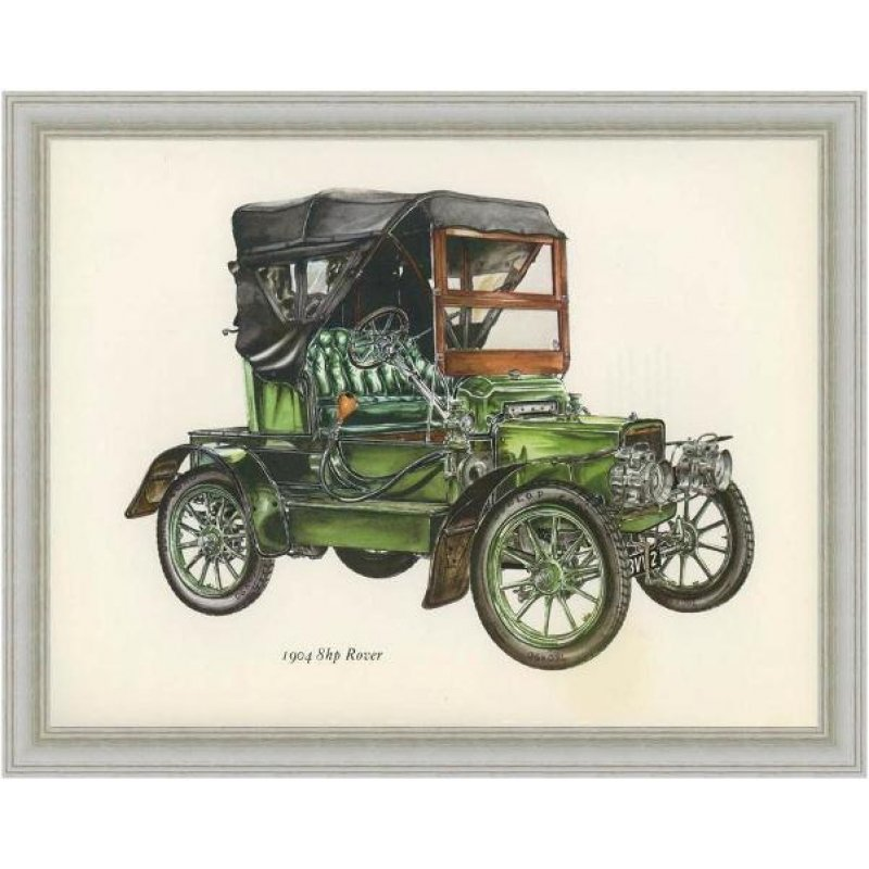 Χειροποίητος πίνακας με έγχρωμη vintage απεικόνιση αυτοκινήτου αντίκας του περασμένου αιώνα