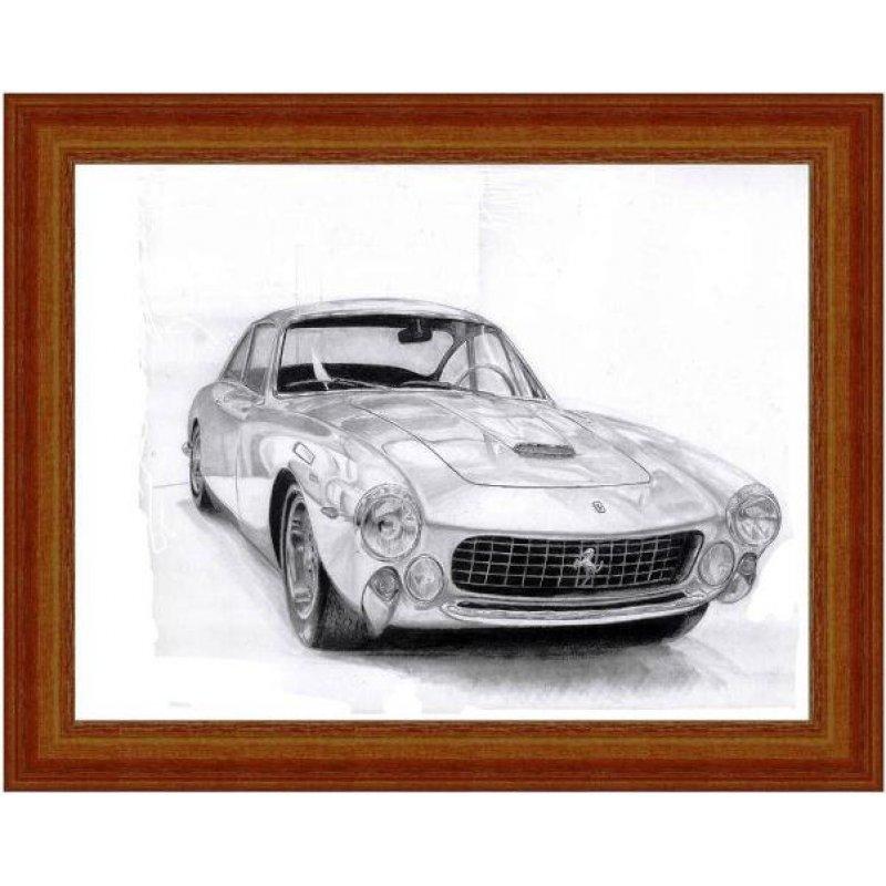 Χειροποίητος πίνακας με vintage απεικόνιση ασημί σπορ αυτοκινήτου