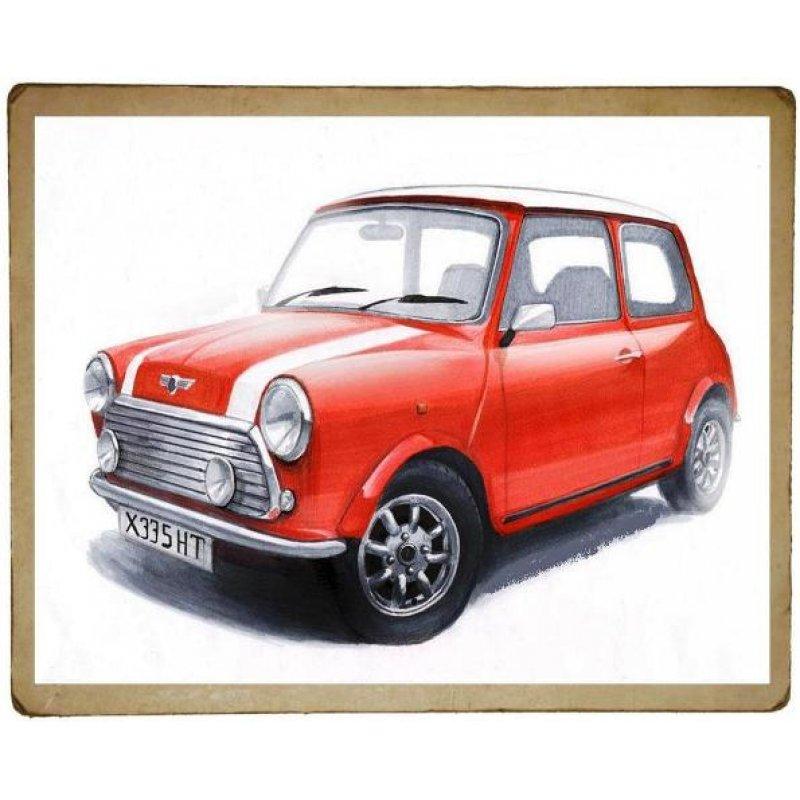 Χειροποίητος πίνακας με vintage απεικόνιση ρετρό αυτοκινήτων