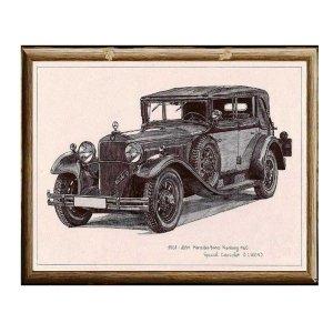 Χειροποίητος πίνακας με vintage ασπρόμαυρη απεικόνιση αντίκας αυτοκινήτου