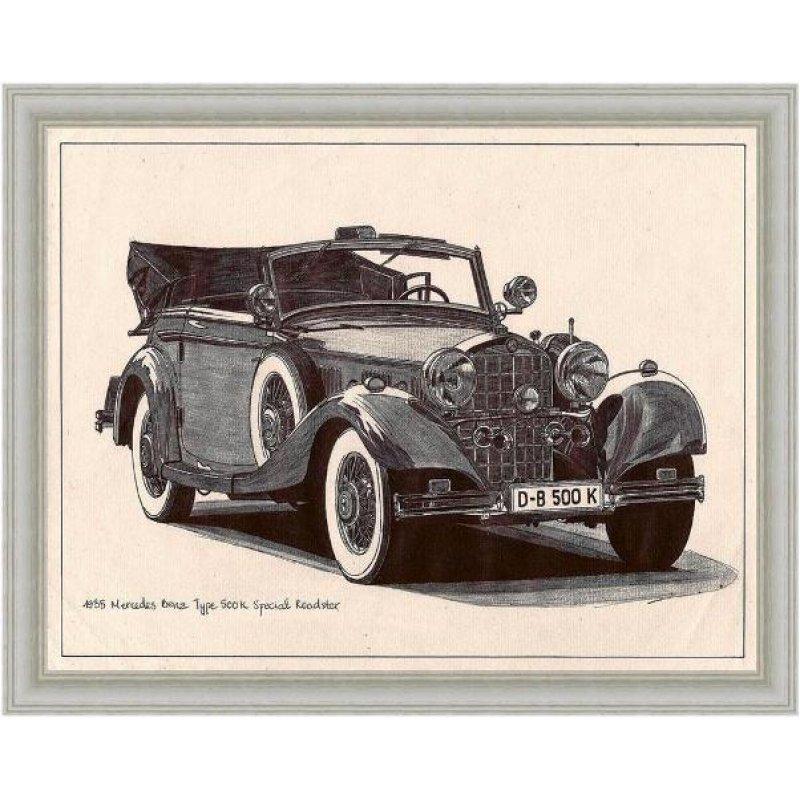 Χειροποίητος πίνακας με vintage ασπρόμαυρη απεικόνιση αντίκας αυτοκινήτου κάμπριο