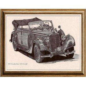 Χειροποίητος πίνακας με vintage ασπρόμαυρη απεικόνιση &alpha