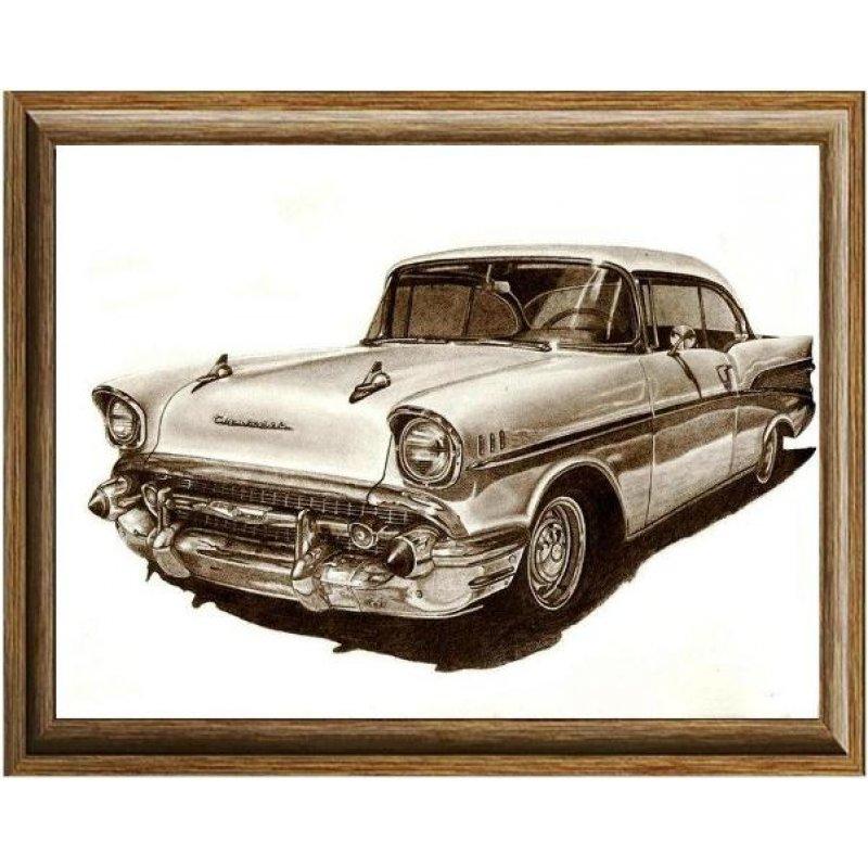 Χειροποίητος πίνακας με vintage ασπρόμαυρη απεικόνιση αυτοκινήτου 50's