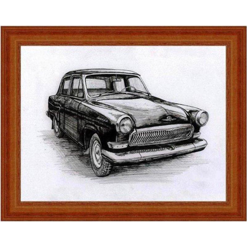 Χειροποίητος πίνακας με vintage ασπρόμαυρη απεικόνιση αυτοκινήτου αντίκας