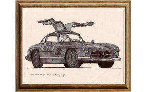 Χειροποίητος πίνακας με vintage ασπρόμαυρη απεικόνιση &sigma