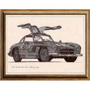 Χειροποίητος πίνακας με vintage ασπρόμαυρη απεικόνιση σπορ αυτοκινήτου