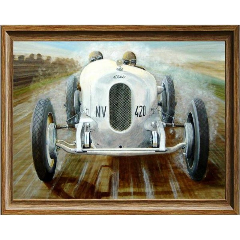 Χειροποίητος πίνακας με vintage έγχρωμη απεικόνιση αγωνιστικού αυτοκινήτου εν κινήσει