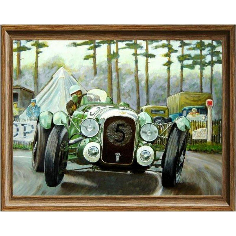 Χειροποίητος πίνακας με vintage έγχρωμη απεικόνιση αγωνιστικού αυτοκινήτου σε αγώνα
